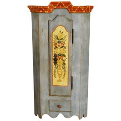 Small 20th Century Rural German Painted Corner Cabinet
