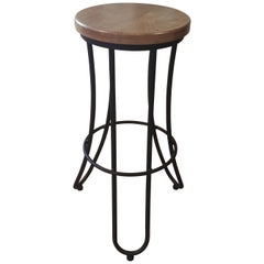 New Industrial Wrought Iron Shop Stool with Oak Seat