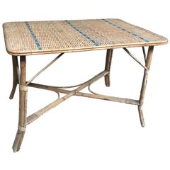 Vintage French Woven Rattan Wicker Table