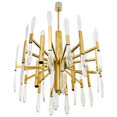 Midcentury Italian Brass and Clear Glass Chandelier by Sciolari, circa 1960