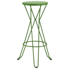 New Industrial Wrought Iron Shop Stool with Metal Seat