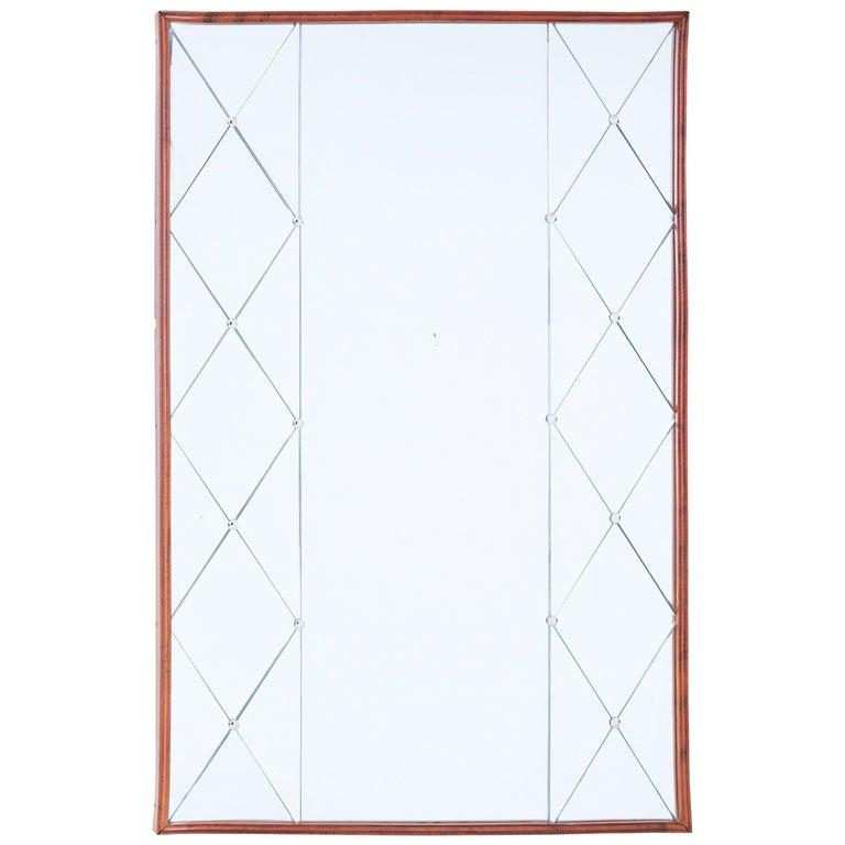 Mid-20th Century Shaped Scandinavian Teak Wall Mirror For Sale