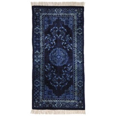 Rug Wool China Hand Knotteded Blue en White