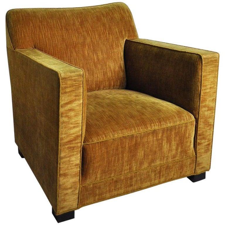 Early Midcentury Lounge Chair in Original Velvet Upholstery For Sale