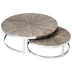 Contemporary Nesting Chrome Cocktail Table Set of 2