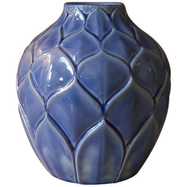 Art Deco Blue French Vase in Craquelè, 1930s For Sale