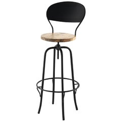 New Industrial Wrought Iron Shop Stool with Wood Seat and Back