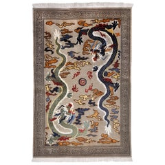 Rug Wool China Hand Knotted with Two Dragons in Gray