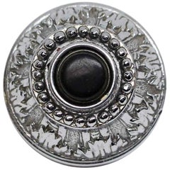 Nickel Plated NYC Waldorf Astoria Hotel Ornate Doorbell with Black Button