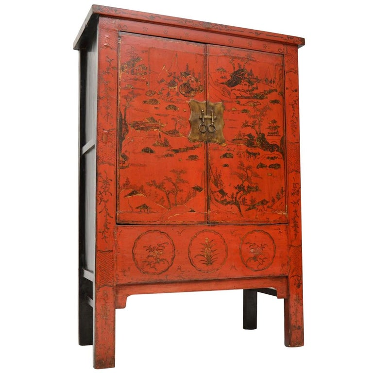 Antique Chinese Lacquered Wedding Cabinet For Sale