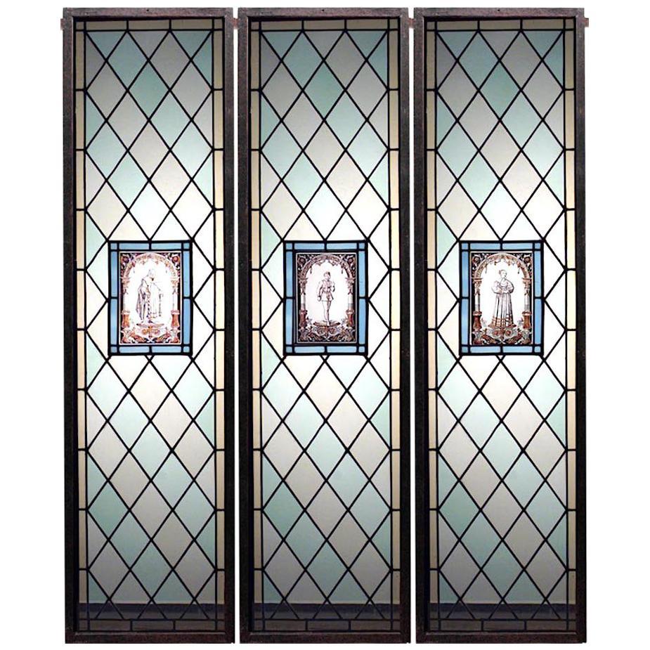 Set of 3 English Renaissance Leaded Glass Windows