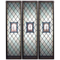 Set of 3 English Renaissance Style Window Panels