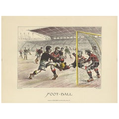 Antique Poster of a Soccer Match by Dorfinant, circa 1930