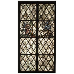 Pair of English Renaissance Style Painted Glass Windows