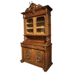 Antique French Oak Black Forest Style Cabinet with Deer Trophy, 19th Century