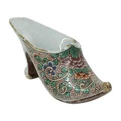 Small Dutch 18th Century Polychrome Earthenware Shoe Slippery