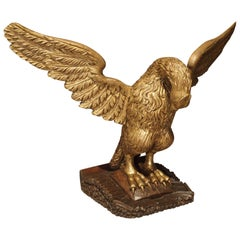 19th Century Carved Giltwood Eagle on Stand