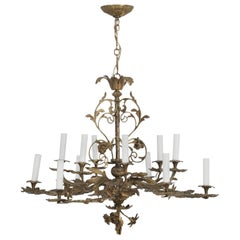 Chandelier in an Organic Leaf Motif, Made of Solid Brass and Very Heavy