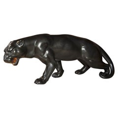 Art Deco Black Panther in Ceramic Italy, 1930s