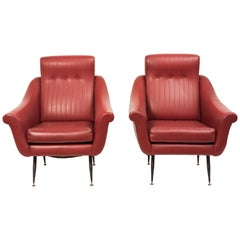 Vintage Pair of Armchairs, Italian Manufacture, 1950s