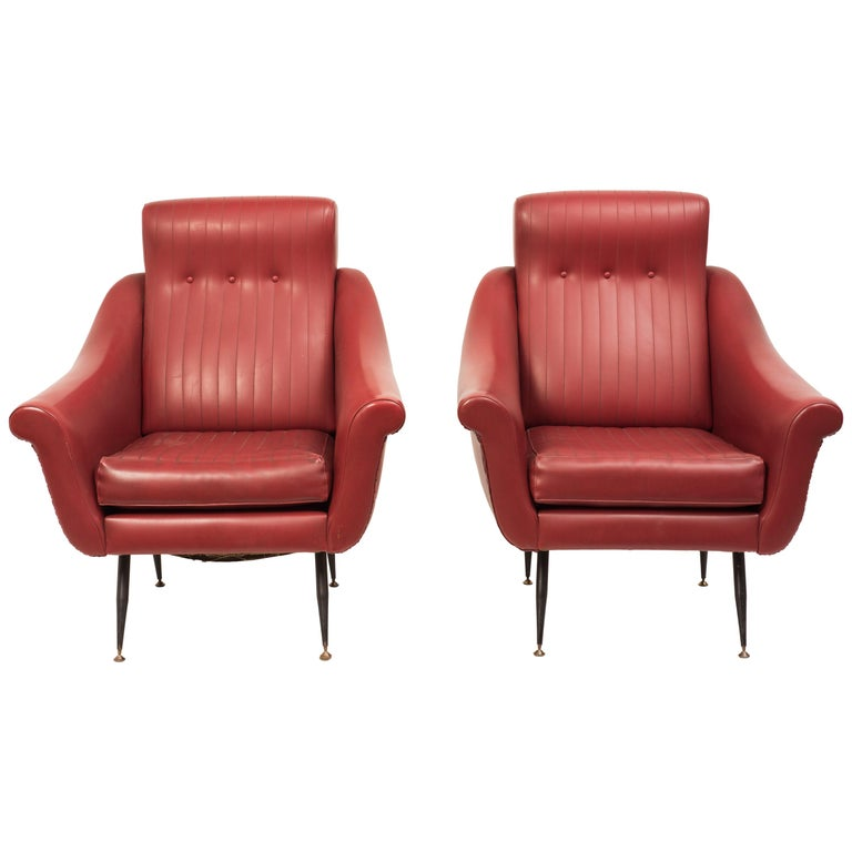 Vintage Pair of Armchairs, Italian Manufacture, 1950s For Sale