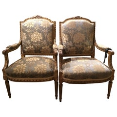 Louis XVI Style Giltwood Fauteuils/Armchairs, 19th Century with Domed Back, Pair