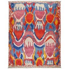 Teppich Wolle Hand geknoteter Meram mit Rot Blau und Gelb