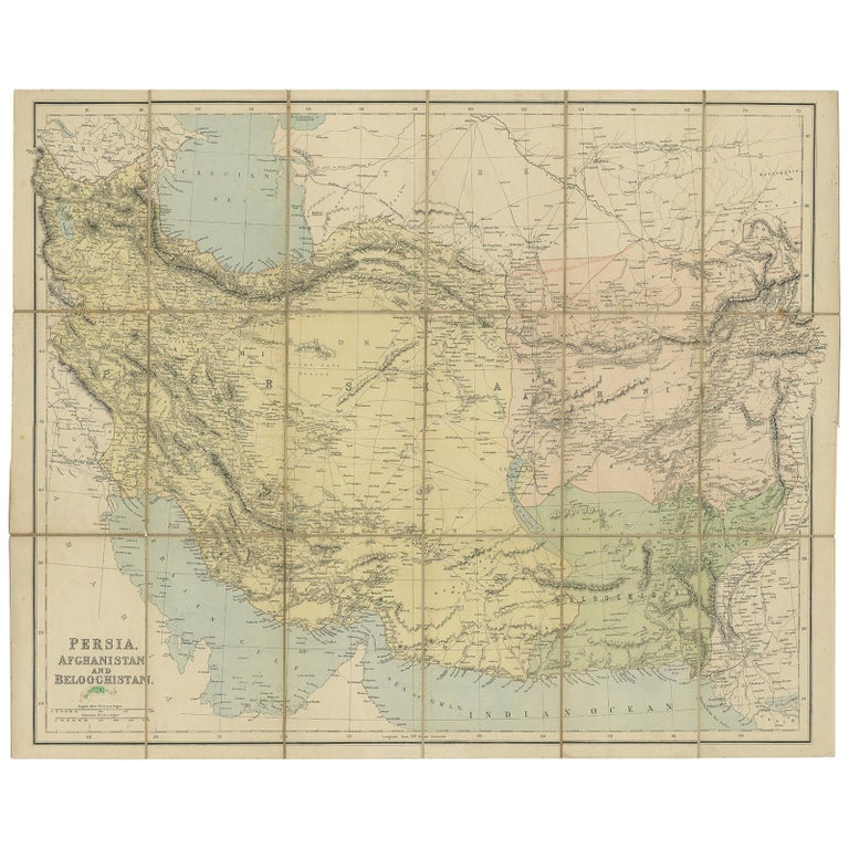 Antique Map Of West Asia Circa 1900 For Sale At 1stdibs