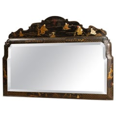 20th Century Lacquered and Painted Chinoiserie Wood French Mirror, 1960