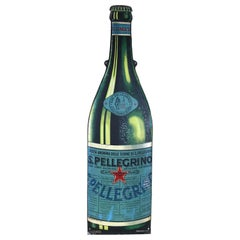 1940s Vintage Italian San Pellegrino Mineral Water Tin Advertise Sign Metalgraf