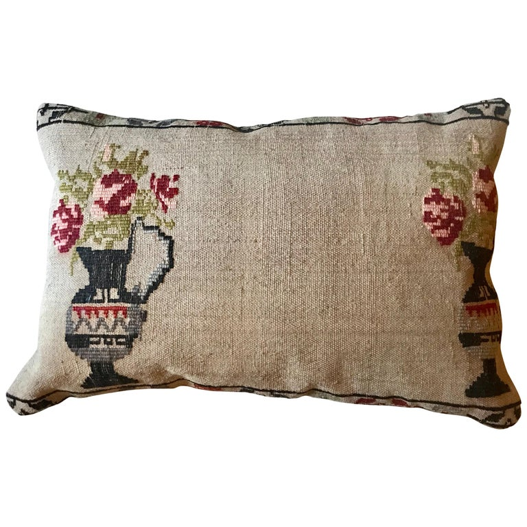 Vintage Hand Embroidered Turkish Pillow For Sale