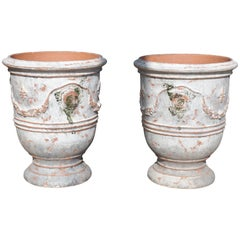 Pair of Antiqued White and Gray Fleur-de-Lys Anduze Pots from France