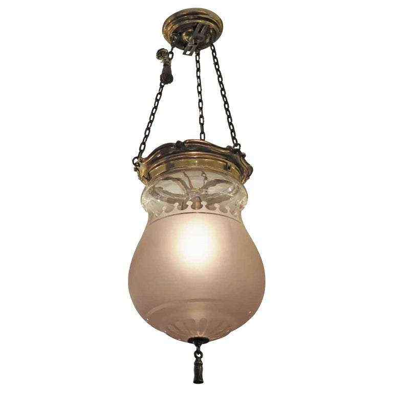 1931 NYC Waldorf Astoria Hotel Frosted Glass EF Caldwell Pendant Bell Jar Light For Sale