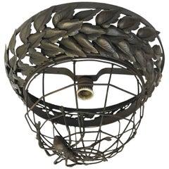 Spider Web Wrought Iron Ceiling Light 20th Century Italian Circular Sconce