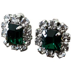 Cristian Dior Vintage Emerald Earrings, 1967