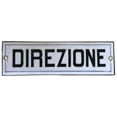 """1950s Italian Vintage Enamel Metal Head Office Sign """"Direzione"""""""