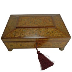 Antique English Regency Penwork Games or Playing Card Box, circa 1820