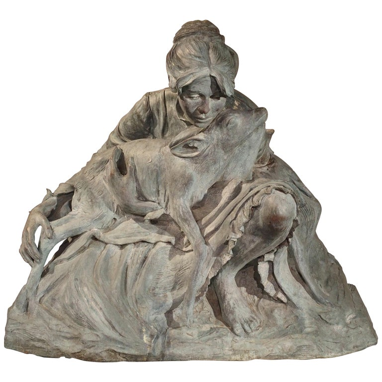 Life-Size Veryl Goodnight Bronze Sculpture-Woman and Orphaned Deer 'Number 1' For Sale