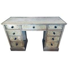 Art Deco Era Mirrored Reversed Paint Decorated Églomisé Desk or Vanity