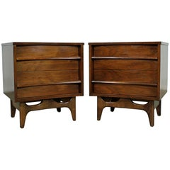 Pair of Mid-Century Modern Sculpted Concave Walnut Nightstands