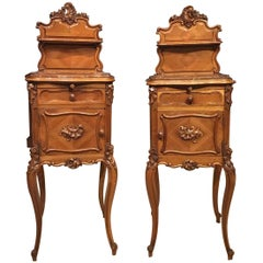 Pair of Walnut French Late 19th Century Bedside Cabinets