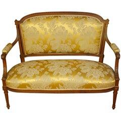 Louis XVI Beechwood Settee in Damask Silk