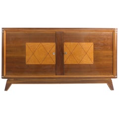Wooden Art Deco Credenza with Two-Tone Pattern Doors