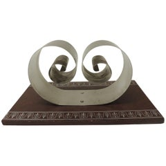 Vintage Embossed Leather and Aluminum Mail Desk Holder by Russel Wright