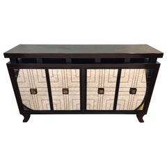 Mahogany Mirrored Front Art Deco Style Credenza or Buffet by Pace