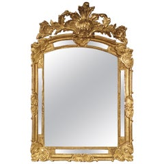 Antique Regence Style Giltwood Mirror Parcloses from France, 19th Century