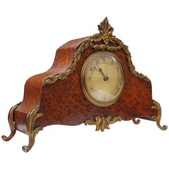 Stunning Burl Walnut Table or Mantel Clock with Stylish Bronze Feet & Ornaments