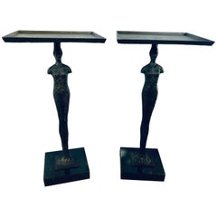 Pair of Diego Giacometti Style Tray Stands