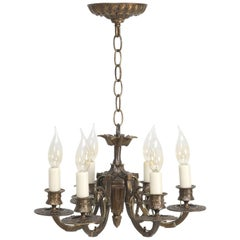American Six-Light Chandelier Made of Solid Brass