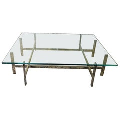 Square Glass and Polished Stainless Steel Coffee Table
